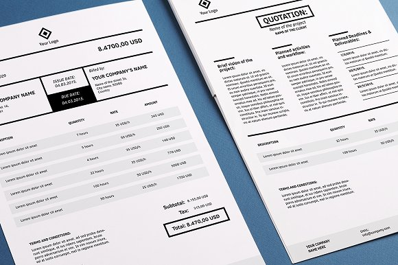 Invoicing Template Indesign Stationery Templates Creative Market