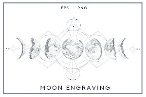 Moon phases. style engraving