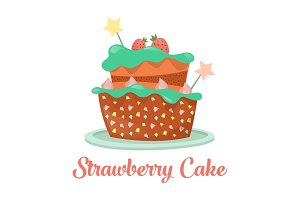 Baked strawberry cake, dessert food