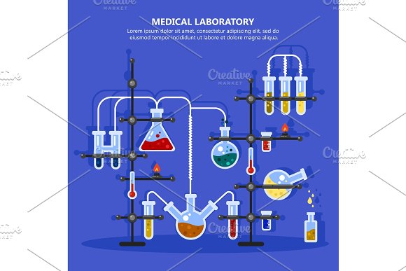 Pharmacy Or Medicine Lab Or Laboratory With Pipes