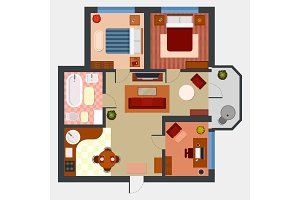 Flat or apartment with rooms top view
