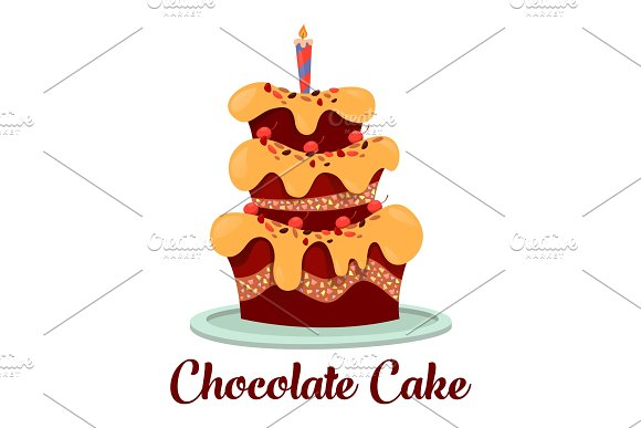 Candle On Top Of Birthday Cake With Cream