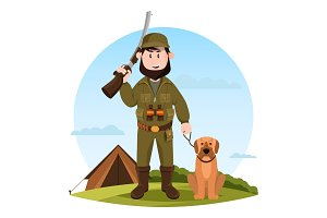 Cartoon hunter with rifle and hunting dog