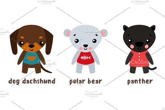 Panther And Polar Bear Dog Set Of Cartoon Characters