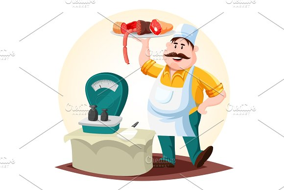 Butcher or meat store worker with sausages