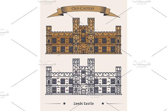 English Leeds castle, palace facade exterior view