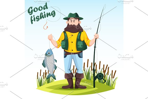 Fisherman With Rod Or Spinning And Catched Fish