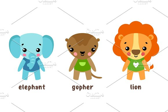 Lion And Animal Gopher Cartoon Characters