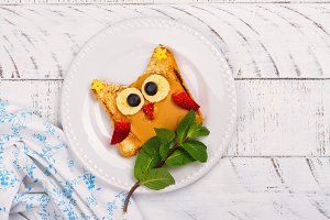 Funny kids sandwich. Tasty owl sandwich for school lunch or breakfast