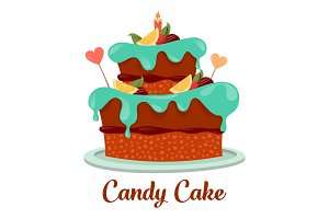 Bakery or pastry cake logo, candy pie icon
