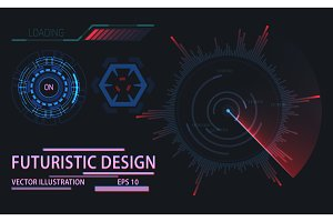 Web or game user interface futuristic elements
