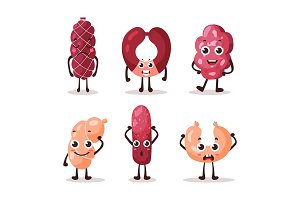 Cartoon meat characters with smiley faces