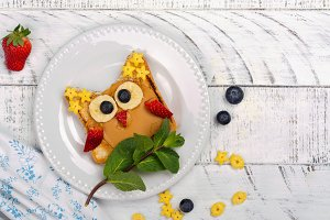 Funny kids sandwich. Tasty owl sandwich for school lunch or breakfast