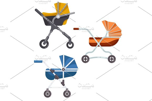 Folding stroller or newborn baby, infant carriage in Illustrations