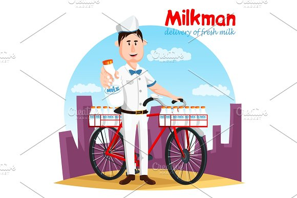 Milkman And His Bicycle Transport For Milk Bottle