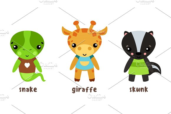 Safari Giraffe And Lizard Snake Baby Skunk Icons