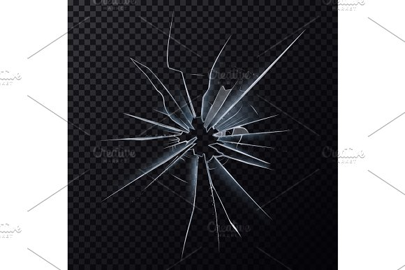Crushed mirror or broken surface of glass