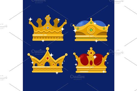 Golden Crown Of Emperor Icon Or Monarch Tiara