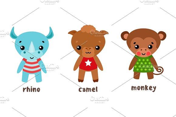 Rhino And Camel Monkey Or Ape Cartoon Characters