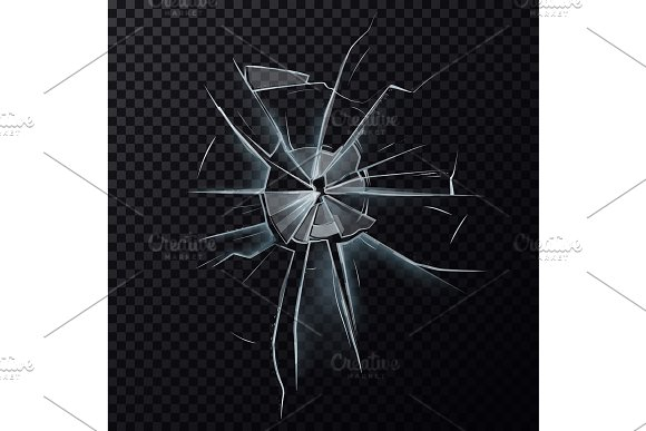 Broken glassware window or damaged screen