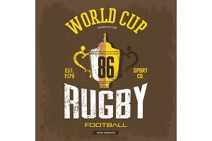 Goblet or trophy cup for american football, rugby