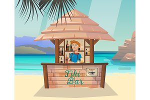 Tiki bar with bartender at sea or ocean shore