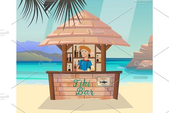 Tiki Bar With Bartender At Sea Or Ocean Shore