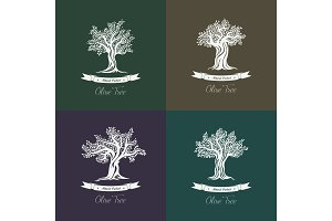 Greek mediterranean olive oil trees set of icons