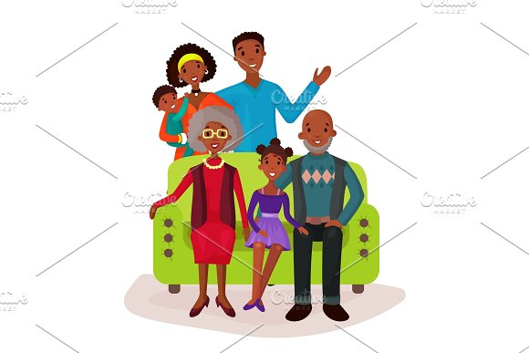 Relatives And Happy Family On Sofa Symbol