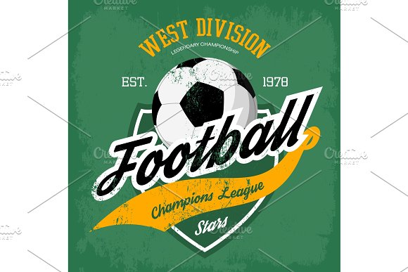 Ball for soccer or football game badge.