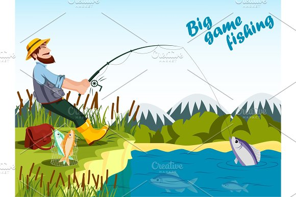 Fisherman fishing at lake with rod and catching fish. in Illustrations