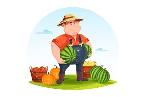 Agrarian or agricultural farmer in field