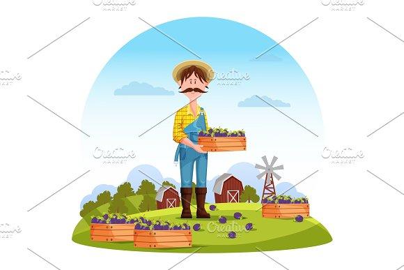 Agriculture Man On Field Farmer Harvester