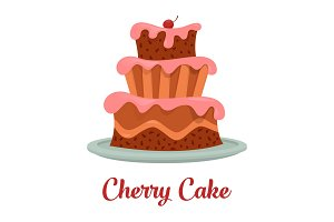 Cake with cream food, bakery or dessert logo.