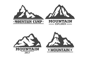 Hill or mountain, rock silhouette icons set.