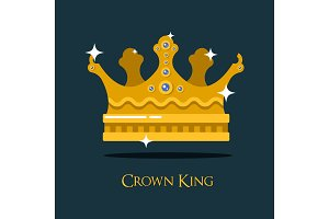 Crest or king, queen golden crown.