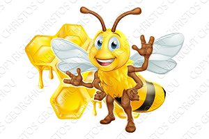 Bee Cartoon Character With Honeycomb