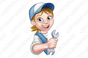 Mechanic Plumber Woman Cartoon Character
