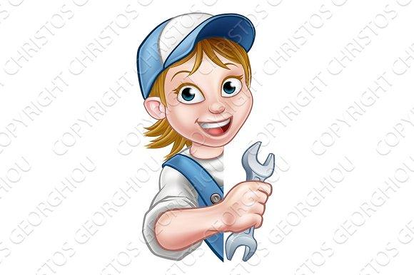 Mechanic Plumber Woman Cartoon Character