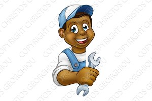 Plumber Mechanic Cartoon Character