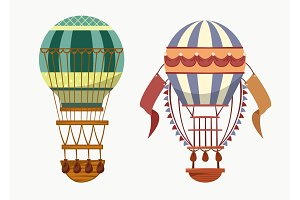 Air balloon with hot air for traveling transport