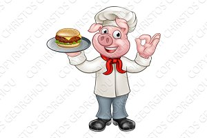 Chef Pig Holding Burger