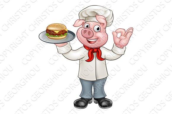 Chef Pig Holding Burger