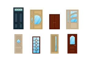 Set of doors with glass or windows design