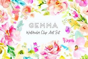 Gemma Watercolor Clip Art Set