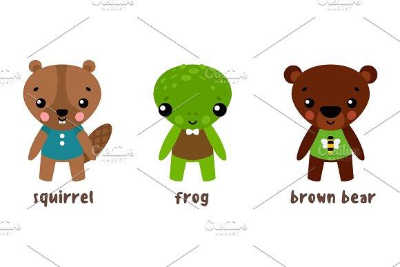 Cartoon Animal Character Set Frog And Bear