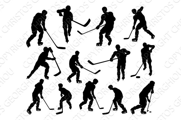 Sports Hockey Player Silhouettes