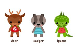Cartoon iguana and deer, badger animal