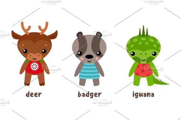 Cartoon Iguana And Deer Badger Animal