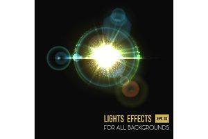 Hexagon and round lens sun light effect